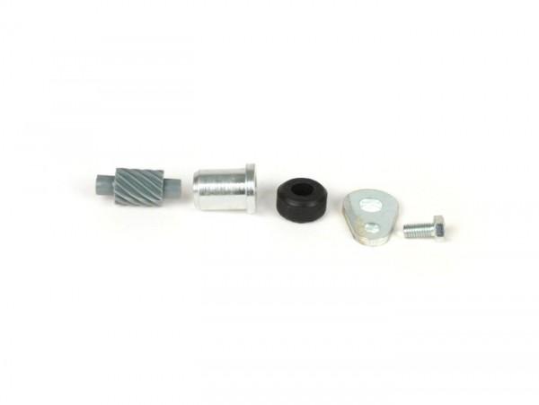 Kit piñón reenvío cuentakilómetros -CALIDAD OEM- Vespa 12 dientes, l=28mm, 2,7mm cuadrado, gris (compatible con Vespa PX Iris (1985-1997), T5 125cc, Cosa)