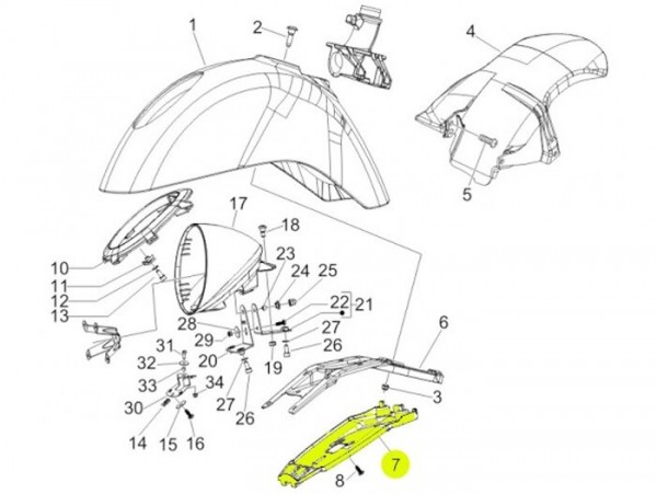Faldón para placa soporte faro -PIAGGIO- Vespa GTV (ZAPM31, ZAPM45)