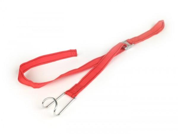 Correa de sujeción -BIBIA- l=750mm (75cm), rojo, textil, con gancho, universal para portaequipajes