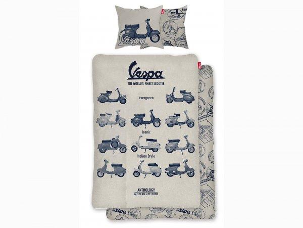 Biancheria da letto -Vespa The World's Finest Scooter- Dimensioni: 135x200cm / 80x80cm, beige, 100% cotone