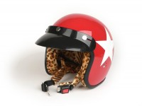 Helm -BANDIT Star Jet- rot mit Leopardenfell - XL (61-62 cm)