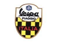 Aufnäher - Patch -Vespa PIAGGIO ITALIA- gelb/schwarz karomuster - 65x85mm