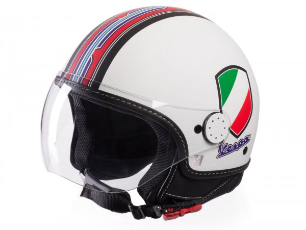 Helmet -VESPA  open face helmet V-Stripes- white red (Casco White)-  XL (61-62 cm)