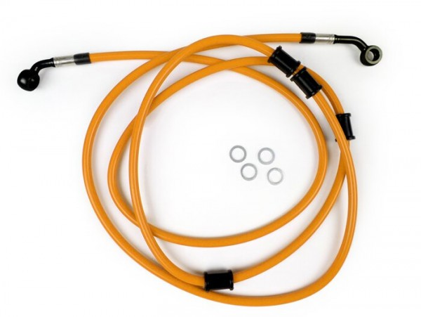 Bremsleitung hinten für Bremszange Brembo P32G, P34G, Frando -SPIEGLER Leitung: Edelstahl (orange), Fitting: Aluminium (schwarz)- Vespa (ohne ABS) GTS 250 (ZAPM451), GTS 125 i.e. (ZAPM453), GTS 300 i.e. (ZAPM452)