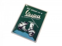 "Plaque publicitaire -RETRO- tôle ""Get ahead on a Vespa"""