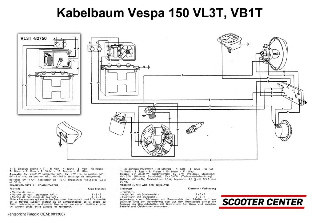 kabelbaum vespa vespa 150 vl2t vl3t vb1t elektrik. Black Bedroom Furniture Sets. Home Design Ideas