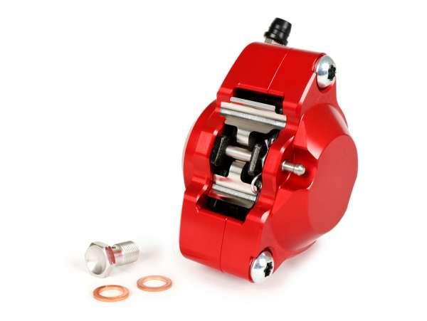 Pinza de freno trasero (con certificado TÜV) -PORCO NERO POWER CNC by Spiegler 2 pistones, Ø=29mm- Vespa GT/GTS/GTV 125-300cc (con/sin ABS) - rojo anodizado