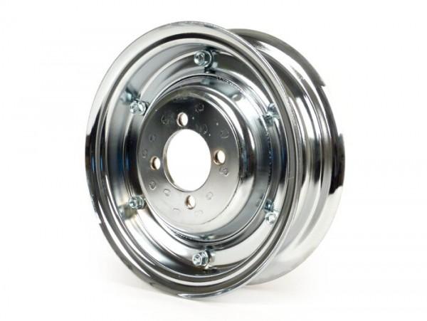 Wheel rim -OEM QUALITY 2.10-8 inch, steel - Vespa (type 4 inner holes) - Wideframe V1-15, V30-33, VU, VM, VN, VNA, VNB, VB, VBA, VBB, Hoffmann, ACMA - chrome