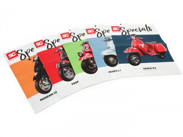 Juego de folletos -SC Specials: VESPA moderna y clásica (GTS, Sprint, Primavera, PX, Largeframe, Smallframe), Lambretta Classic - francés