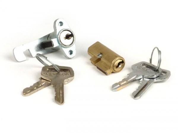 Conjunto de bloqueo que consiste en la cerradura caja de herramientas y bloqueo de la dirección -CALIDAD OEM- Motovespa 150S (Motor 502M), 150Sprint (Motor 04M), 150GS (Motor 04M), 160 (Motor 09M), SUPER (Motor 762M) - 2 piezas con 4 teclas