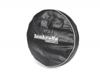 Spare wheel cover -OEM QUALITY- Lambretta 3.50 - 10- black, with pouch, white piping, Innocenti lettering