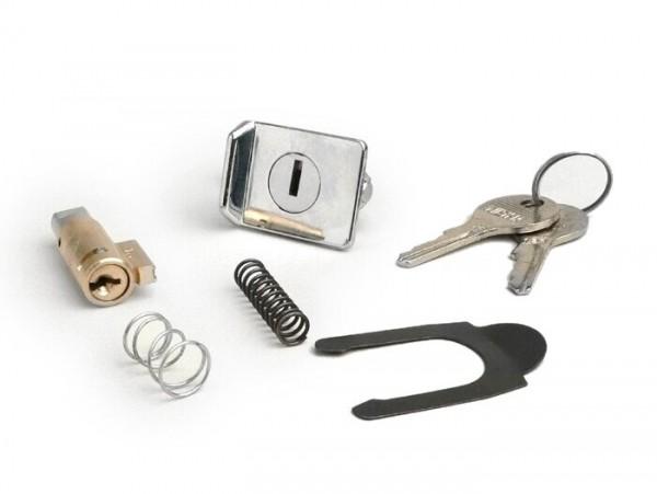 Kit cerradura -CALIDAD OEM 38,5x4mm- Vespa PX (-1984), V50 Special (V5A2 hasta 3T), GT125 (VNL2T, a partir del nº 62685), GTR125 (VNL2T), TS (VNL3T), PV125 (VMA2T, a partir del nº 028960), ET3 (VMB1T), Super 150 (VBC1T) - 2 piezas