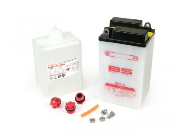 Battery -Standard B49-6- 6V 8Ah - 161x83x91mm -Vespa VL2T, GS160 / GS4 (VSB1T), SS180 (VSC1T), Rally180 (VSD1T), Rally200 (VSE1T), Vespa Sprint150 (VLB1T) - with acid