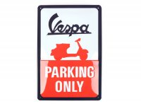 "Chapa de publicidad -Nostalgic Art- Vespa ""Parking only"", 20x30cm"