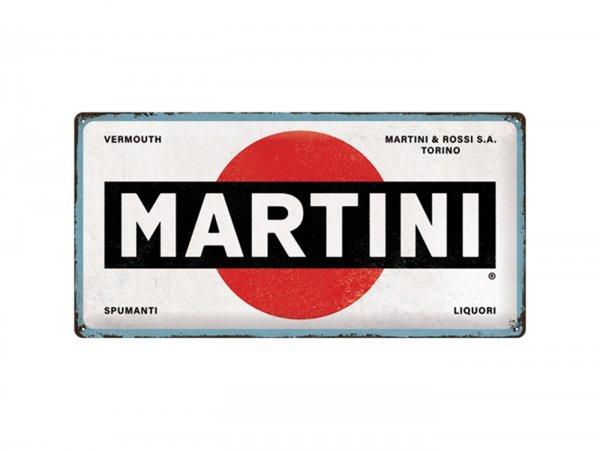 """Reklameschild -Nostalgic Art- """"Martini - Logo White"""", 25x50cm"""