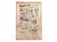 "Plaque publicitaire -Nostalgic Art- Vespa ""Parts Sketches"", 20x30cm"