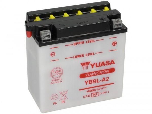 Batterie -Standard YUASA YB9L-A2- 12V, 9Ah - 137x76x140mm (ohne Säure)