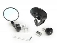 Spiegel-Set -CNC Lenkerenden- Ø=80mm konvex, blaues Glas - schwarz