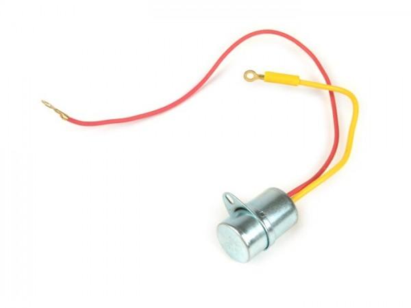 Kondensator -PIAGGIO-, Ø=20mm, h=31mm, µF 0,34, 2-Kabel- Vespa Wideframe VM1T-VM2T, VN1T-VN2T, VNA1T-VNA2T, VNB1T-VNB6T, Super, Vespa 150 VL1T-VL3T, VB1T, VS1T-VS5T, VBA1T, VBB1T-VBB2T, GL150 (VLA1T), GS160, SS180