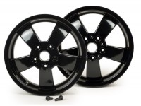 Pair of wheel rims -PIAGGIO Super Sport 2017 - black, 3.00-12 inch - 5 spokes- Vespa GT, GTL, GTS, GTV 125-300cc - models - black