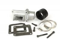 Collettore aspirazione - per valvola lamellare -valvola lamellare Falc immissione diretta- Vespa V50, ET3 125, PV125 - attacco =46mm, interno Ø=38mm (compatibile anche con cilindro Polini EVO)